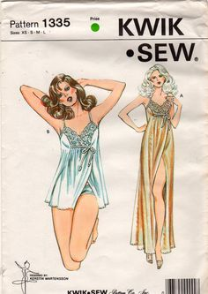 Kwik Sew 1335 1980s Misses Lace Goddess NIGHTGOWN PANTIEs Pattern Womens Vintage Sewing Pattern UNCuT Size xs s m l  Bust 31 - 41 NO ENV