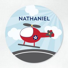 Personalized Melamine Plate - Helicopter - by Tickled Peach Studio