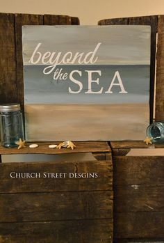 Beyond The Sea - Ocean Inspired Hand Painted Wooden Sign - by Church Street Designs - Beach Sign Art