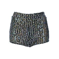 Sequins Close-fitting High Waist Shorts (£27) ❤ liked on Polyvore featuring shorts, chicnova, bottoms, sexy high waisted shorts, wrap shorts, high waisted sequin shorts, high-waisted shorts and high waisted shorts
