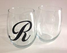 Monogramed Stemless Wine Glasses on Etsy, $5.00