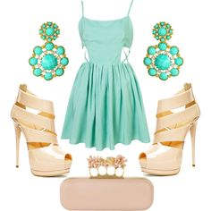 How to wear water-green dress, created by ambra9 on Polyvore