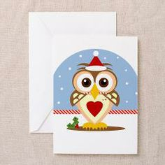 Cute Santa Owl Blank Greeting Card. (Also available in sets of 10 and 20 pk) #Owl #Christmas #ChrsitmasCard #Owllover