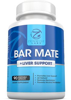 Bar Mate - Hangover Relief and Liver Support Supplement - For Headache, Dizziness and Nausea Prevention - Restores Vital Electrolytes - With Prickly Pear Extract   Vitamin B12, B1 and C - 90 Capsules -- Startling review available here  : Herbal Supplements