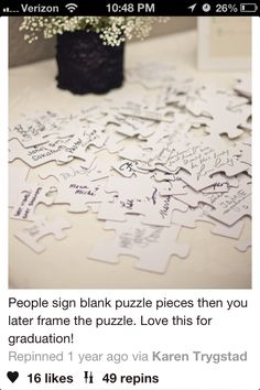 I love this idea, because I love puzzles! It's a cute framed idea, a memorial I can Put in my dorm when I get to university!