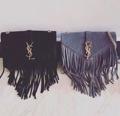 Yves Saint Laurent Monogram Serpent Medium Fringed Leather Shoulder Bag
