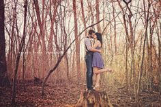 Engagement picture on a stump! -D