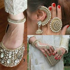 Code : Fk 002 PRICE For khussa only 3800 RS Anklt price : 1200 Ring : 1200 Earrings : 2000 Brslt: 1500 Clutch 3000 rs