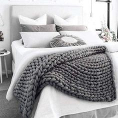 Home Grtsunsea Soft Warm Hand Chunky Knit Blanket Thick Yarn Bulky Bed Sofa Spread Throw Winter 7 Colors. Fall Bedroom, Ikea Bedroom, Bedroom Decor, Bedroom Ideas, Sofa Blanket, Grey Throw Blanket, Throw Blankets, Knot Blanket, Blanket Rack
