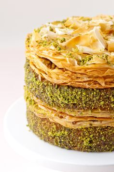 Pistachio Baklava Cake - A tender pistachio cake doused with the orange/rose water syrup. Discs of baklava with pistachio filling are used as if they were frosting for the cake. Best Cake Recipes, Dessert Recipes, Favorite Recipes, Sweets Recipe, Easy Recipes, Dessert Healthy, Top Recipes, Light Recipes, Healthy Food