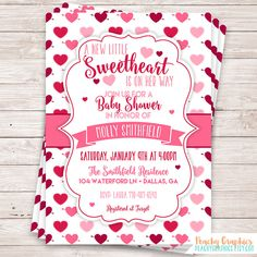 Printable Little Sweetheart Baby Shower Invitation - Valentine's Day Invitation - February Baby Shower - Girl Baby Shower Invite by PeachyGraphics on Etsy