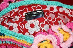 Lining a crochet bag.