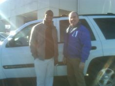Folger Subaru Internet Sales Consultant Jim Gamble with Mr. Orton and his 2004 Chevy Trailblazer SUV!