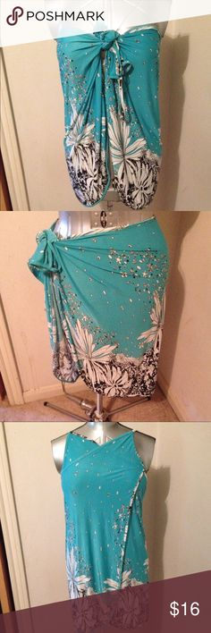 """Swimsuit Cover Up Teal/black/white. Can be worn different ways. 24"""" x 48"""" approximately. Rounded corners. Swim Coverups"""