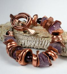 Copper and Gemstone Bracelet - Forged and Hammered Copper Beads, Repurposed Copper Pipe, Beaded Bracelet with Amethyst and Pearls - Sunset. $275.00, via Etsy.