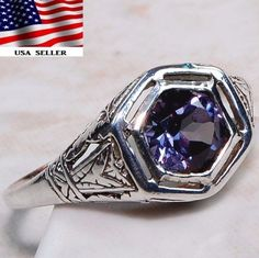 1CT Color Changing Alexandrite 925 Sterling Silver Ring Jewelry Sz 6, FR5