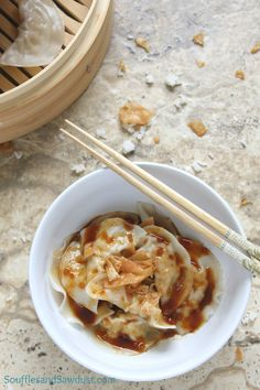 Don't be intimidated by making your own dumplings, they are super easy to construct (using those wonton wrappers you see at the grocery store but never knew how to use).  The spicy sauce is the hero of this dish - it's so good you could drink it (not recommended).  Filled with ground pork and a few other ingredients, you'll have this on the table faster than Chinese takeout!  From the food blog, SoufflesandSawdust.com