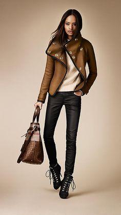 Veste portefeuille enveloppante avec bordure en cuir | Burberry