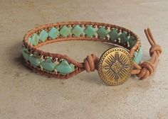 Turquoise picasso Czech glass Silky diamond bead bracelet with natural Greek leather, Toho seed beads and Mayan antique brass button
