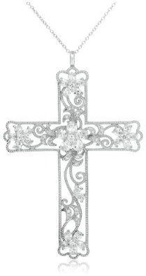 """Sterling Silver Cubic Zirconia Filigree Cross Pendant Necklace, 18"""". For those of us who adore christian jewelry. This is a no brainer. MUST HAVE! Do you like sterling silver necklaces too?"""