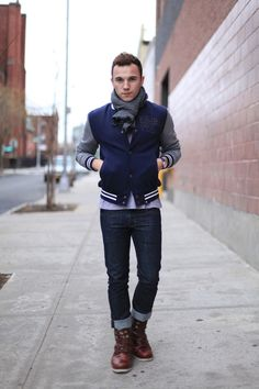 Varsity Jacket Scarf Dark Denim and Boots