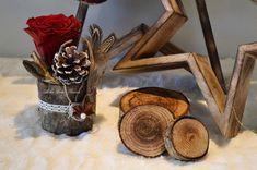 Décoration Noël Rose Rouge et Bois