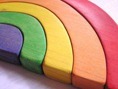 Waldorf- Wood Toy - RAINBOW Stacking Puzzle-  Imagination Stacking and Nesting  Puzzle. $40.00, via Etsy.