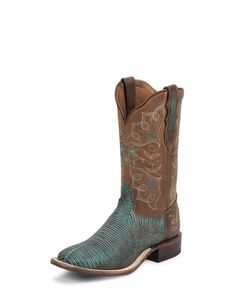 "Toe: H  Heel: H  Upper: 11""  Turquoise Tri-Tone Lizard Foot  Suntan Century Top  Insole: Lama Comfort Technology  Outsole: Leather  Double Stitched Welt  Handcrafted In The USA  WOWZER!"