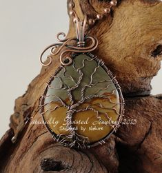 Wild Horse Picture Jasper Tree of Life Pendant in by MaryOlczyk