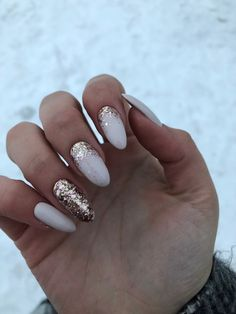 Milky nails with golden glitter, perfect for winter Sparkle Nails, Glitter Nails, Gold Glitter, Ivory Nails, Milky Nails, Golden Nails, Almond Shape Nails, Almond Nails, Cute Acrylic Nails