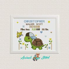 Turtle cross stitch pattern Birth announcement Counted cross stitch Baby boy Baby cross stitch Modern nursery Baby shower New baby Cross Stitch Baby, Modern Cross Stitch, Baby Turtles, Turtle Baby, Birth Gift, Baby Birth, Baby Messages, Funny Cross Stitch Patterns, Baby Shower