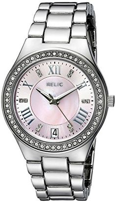 Relic Women's ZR12164 Analog Display Analog Quartz Silver Watch. Case size: 34 mm. Band width: 16 mm. Analog-quartz Movement. Case Diameter: 34mm. Water Resistant To 99 Feet.