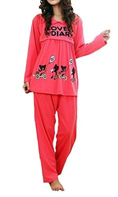 MTRNTY Womens Maternity Nursing Sleepwear Hello Kitty Comfortable Set 506 Red Medium -- Find out more about the great product at the image link-affiliate link