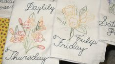 FREE SHIPPING Handmade Embroidered Tea TowelsFloral by Hisnow, $75.00