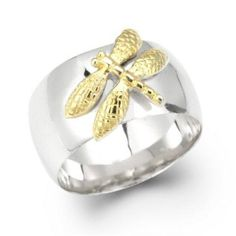 Bling Jewelry Sterling Silver Gold Plated Two Tone Dragonfly Ring With Free Engraving Silver Pendant Necklace, Sterling Silver Necklaces, Matching Couple Bracelets, Gold Promise Rings, Dragonfly Jewelry, Gold And Silver Bracelets, Engraved Rings, Bling Jewelry, Craft Jewelry