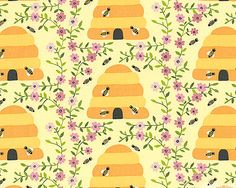 1 Canoe 2 - Bee Hives & Blossoms - Quilt Fabrics from www.eQuilter.com