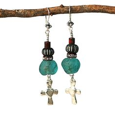 Rustic silver cross earrings - Tribal stacked beads cross earrings -  African aqua recycled glass earrings - - pinned by pin4etsy.com