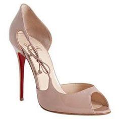 Christian Louboutin, blush pink, stiletto, peep toe wedding shoes