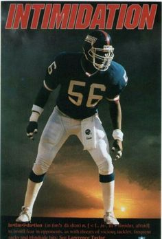 Lawrence Taylor - Intimidation for Real in the Past or Present Time Played! New York Giants Football, Raiders Football, My Giants, Nfl Football, American Football, Football Players, Football Helmets, Lawrence Taylor, G Man