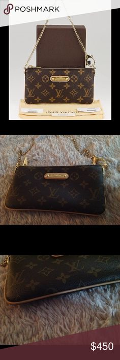 💯Auth. LV Milla Clutch MM EUC. Carried once or twice. Light patina. Shiny gold hardware. No tarnish. No stains, tears or rips. Copy of receipt included upon buyers request. Box included. Made in France.🚫TRADES. Louis Vuitton Bags Clutches & Wristlets