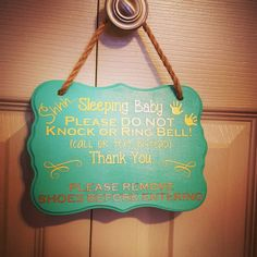 Custom sleeping baby for hanger! Basic styles are listed in my shop but I am more than happy to accommodate custom requests!  #doorhanger #woodensign #sleepingbaby #donotdisturb #removeshoes #Etsy #linkinbio #customorder