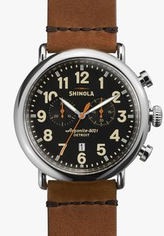 4b0e9ea420d Shinola - Men s Watch - The Runwell Chrono 47mm Black Dial with Brown  Leather Strap