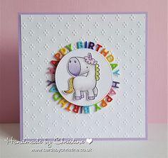 Handmade by Christine: Playtime…. Handmade by Christine: Playtime…. Unicorn Birthday Cards, Girl Birthday Cards, Handmade Birthday Cards, Unicorn Cards, Diy Birthday, Rainbow Card, Card Tricks, Card Making Inspiration, Copics