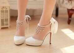 White Ivory Satin Crystal Wedding Bridal High Heels Pumps Shoes 6,7,7.5,8,8.5,9