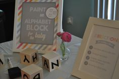 Paint a Baby Block Activity at a Baby Shower #babyshower #partyactivities