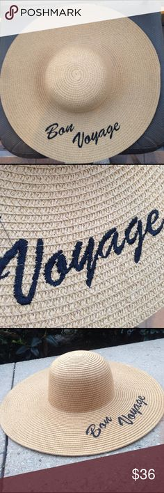 Hard to find bon voyage UPF 50 straw hat UPF 50 packable hard to find 'bon voyage' floppy with black embroidery.  5 inch brim paper braid straw.  One size.  Please specify if you have a smaller head in the comments after purchasing and I will include a foam liner to make the hat smaller magid hats Accessories Hats