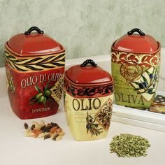 Olio Olives Kitchen Canister Set (Touch of Class)