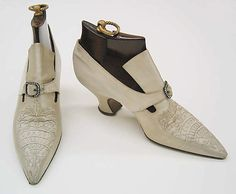 ๑ Nineteen Fourteen ๑ historical happenings, fashion, art style from a century ago - Shoes 1914, French, Made of silk and leather
