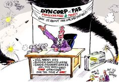 Dyncorp, Pacific Architects and Engineers (PAE) (CorpWatch cartoon by Khalil Bendib '04)