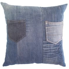 This fun denim pillow has two pockets sewn in that allow you to stash little treasures or even a remote control. The stuffing is made of feathers and down for a luxurious feel that is comfortable to lean on.